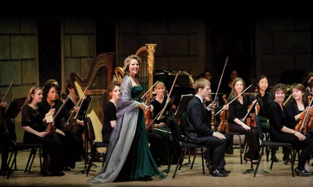 Renée Fleming with musicians on stage
