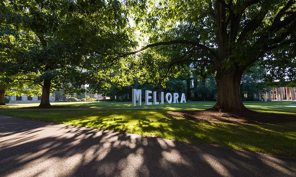 Large letters on quad spell MELIORA