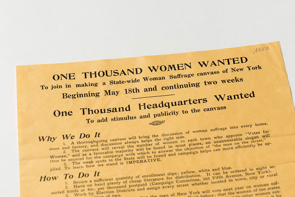 historical pamphlet with headline ONE THOUSAND WOMEN WANTED