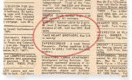 Gay Lib classified ad submitted by Larry Fine
