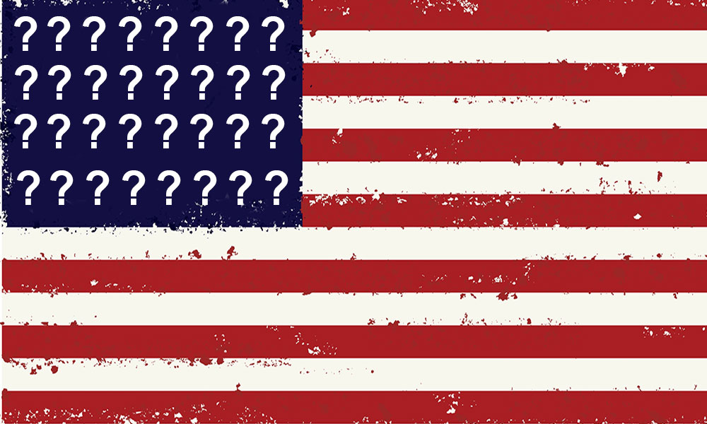 American flag with question marks