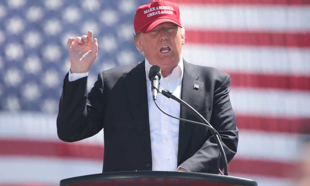 Donald Trump speaking at a campaign rally.