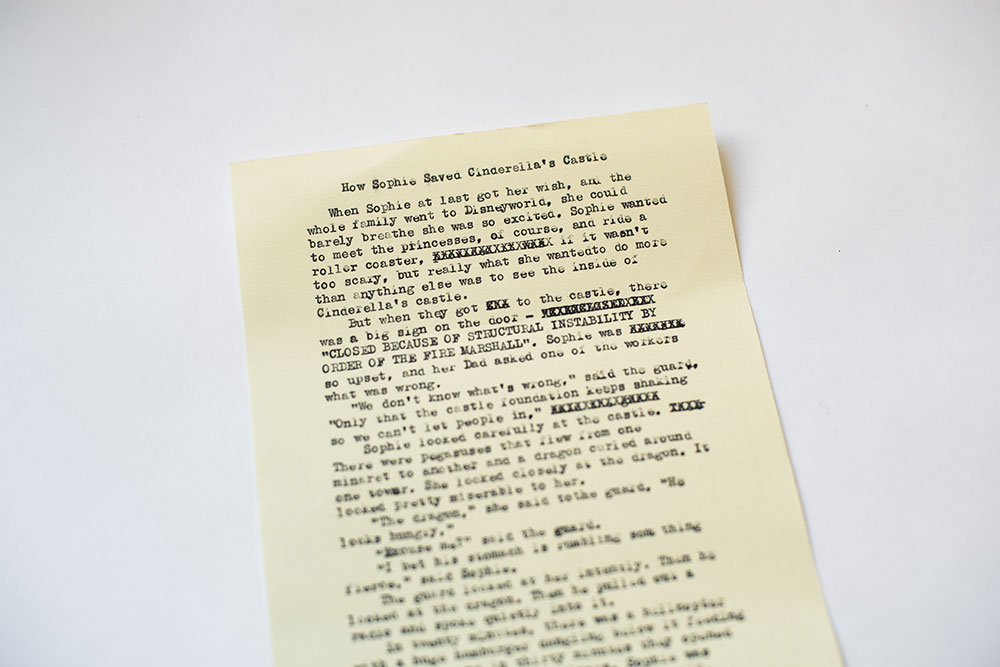example of a typewritten story titled HOW SOPHIE SAVED CINDERELLA'S CASTLE