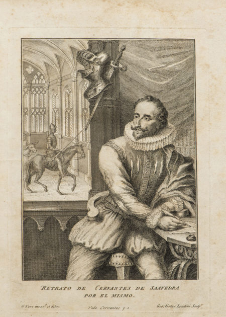 A portrait of Miguel de Cervantes, from an edition of Don Quixote published in London in 1738 by Jacob Tonson.