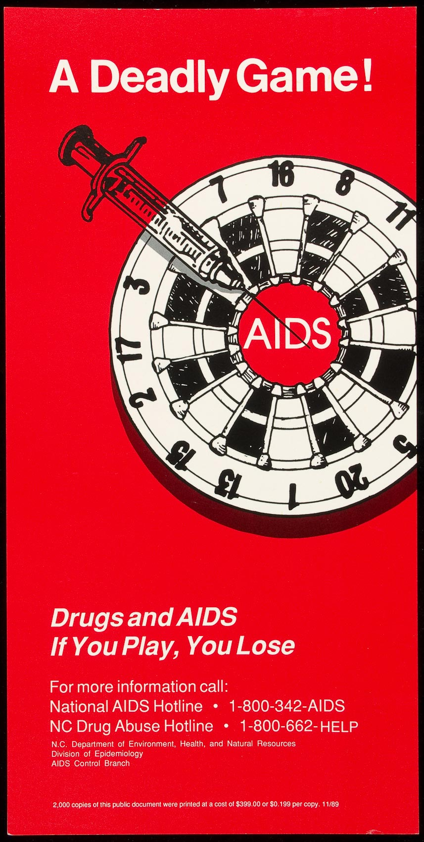 AIDS poster shows dart board with text A DEADLY GAME
