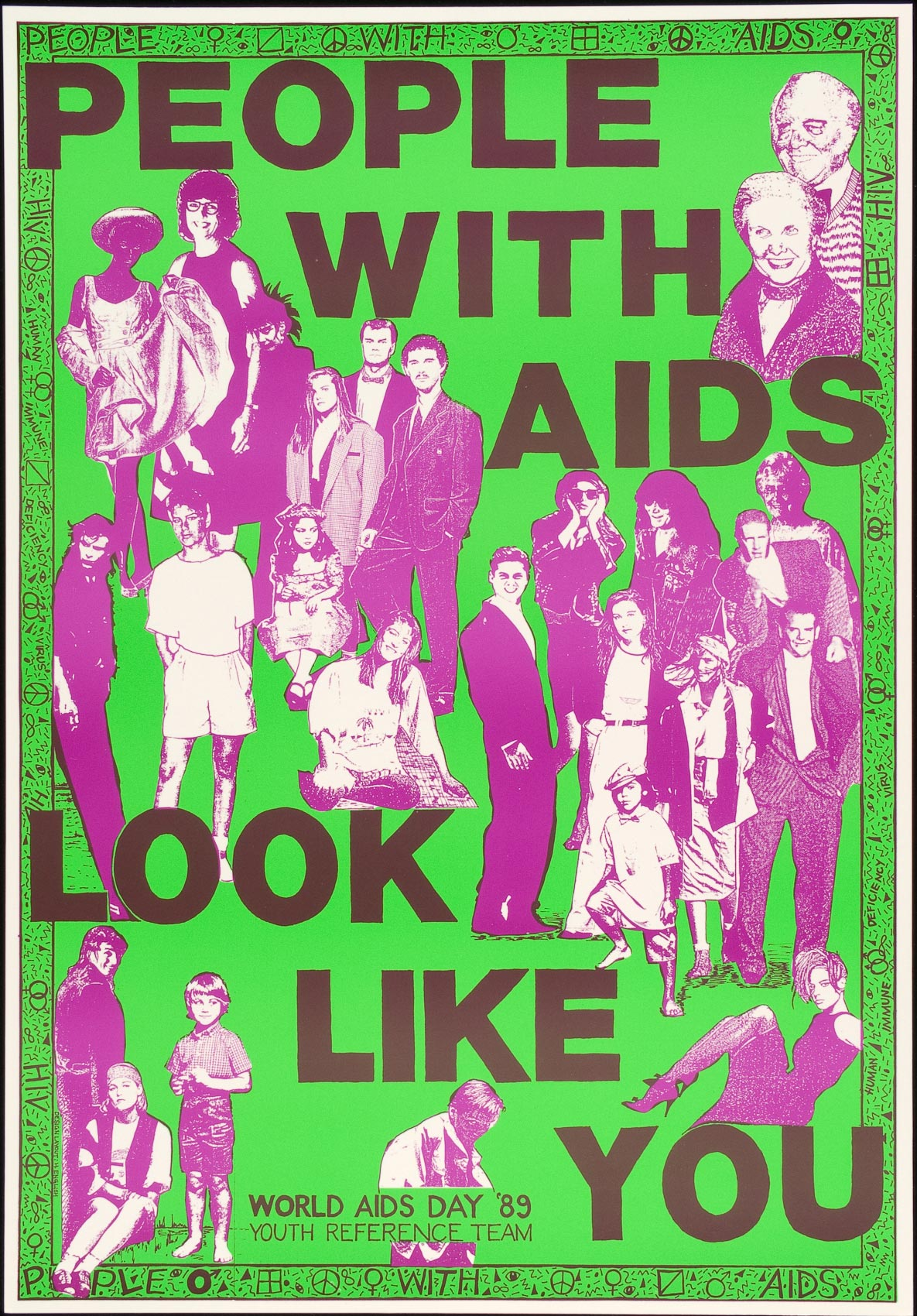 AIDS poster with collage of people reads PEOPLE WITH AIDS LOOK LIKE YOU