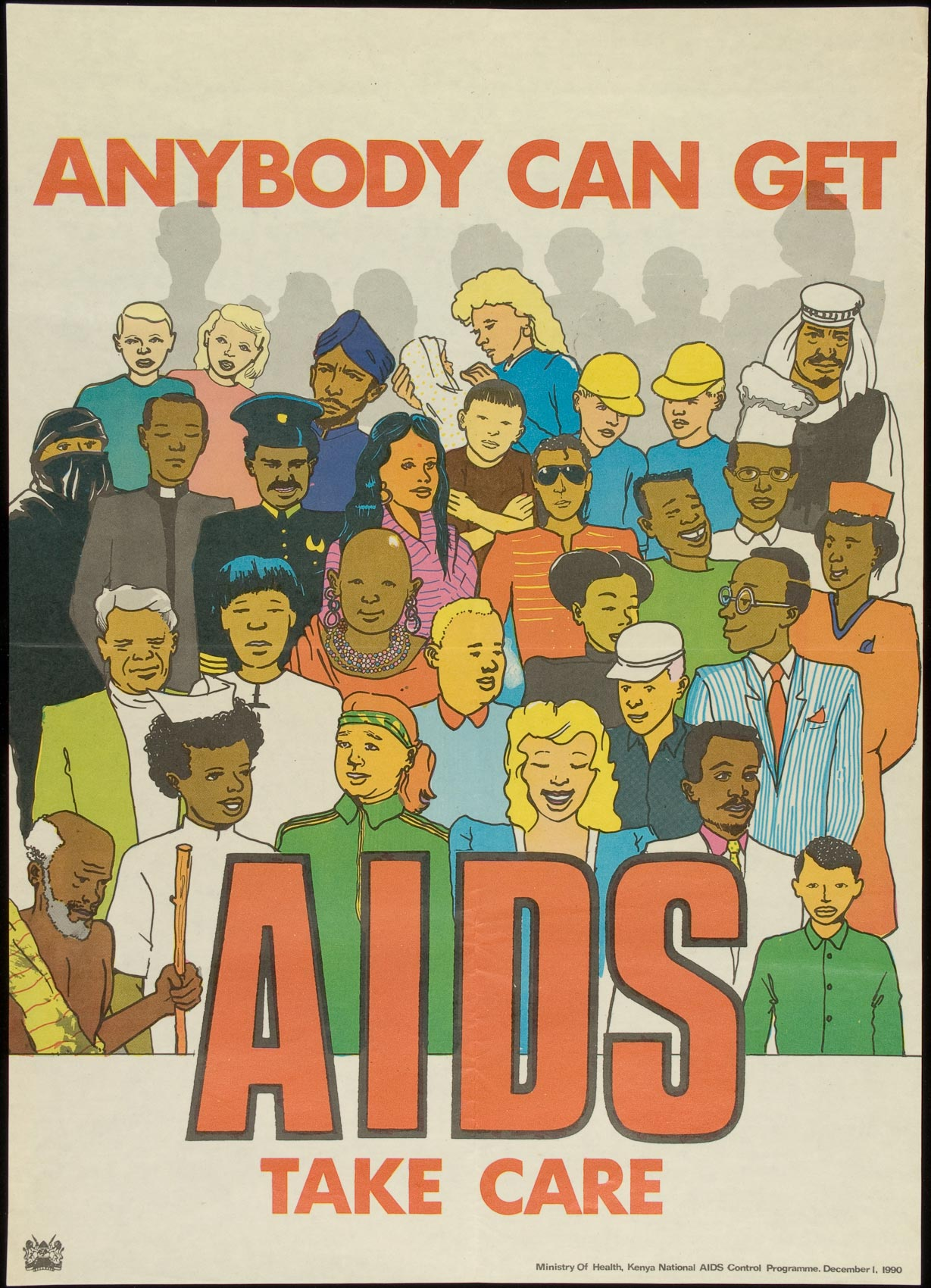 AIDS poster with a collage of people reads ANYBODY CAN GET AIDS TAKE CARE