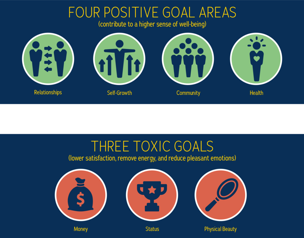 infographic showing four positive ways to make goals (relationships, self-worth, community, and growth) and three toxic types of goals (money, status, physical beauty)