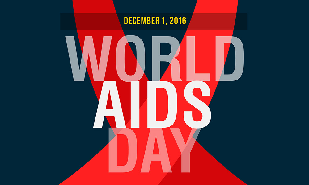 red ribbon with text that reads DECEMBER 1 2016 WORLD AIDS DAY