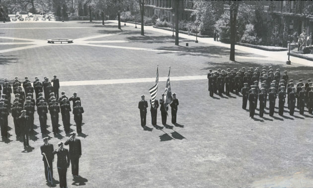 historical photos of soldiers on the quad