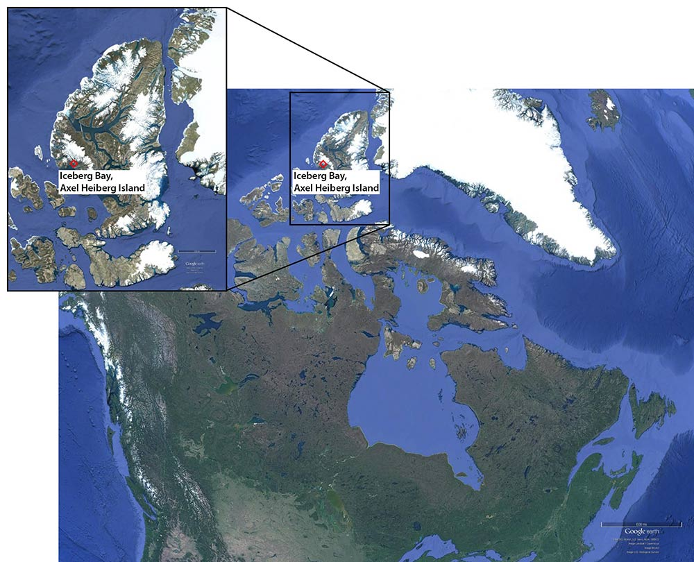 map showing location of expedition, in the arctic area of northern Canada