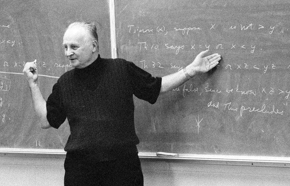 Ralph Raimi teaching a mathematics course at the University of Rochester in 1994 (Photo credit: Jessica Raimi)