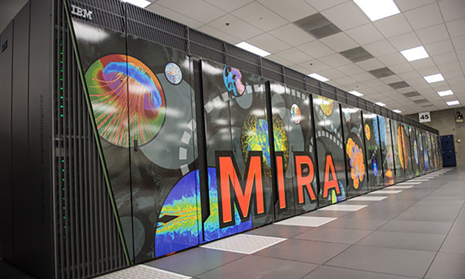 large supercomputer with word MIRA written on front