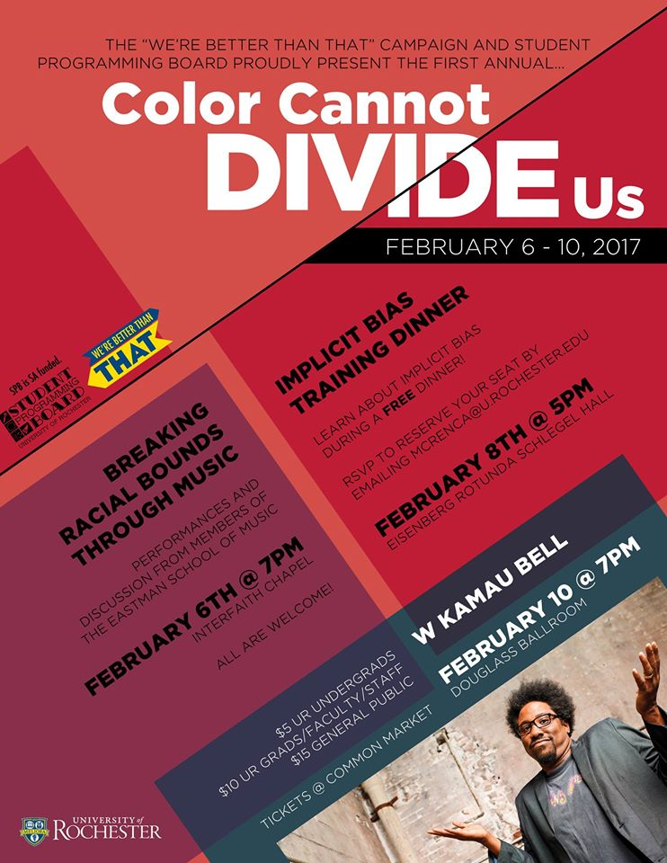 Poster listing events for Color Cannot Divide Us Week