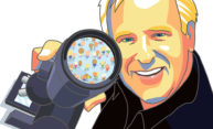 illustration of Harry Reis looking at people under a microscope