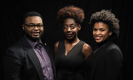 group portrait of Delvin Moody, Charlisa Goodlet, and Caryl English.