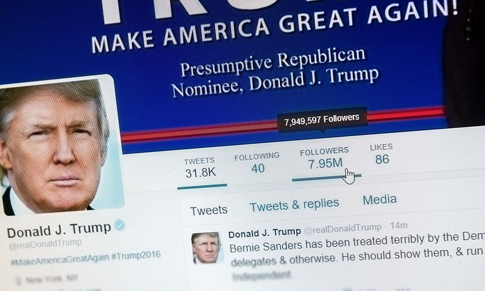 screenshot of Donald Trump twitter account