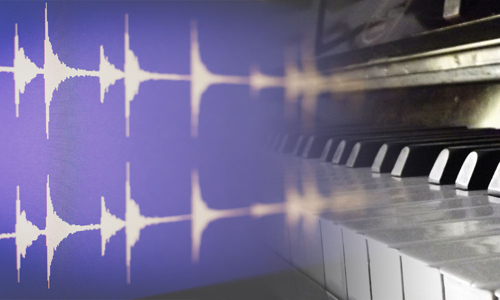 waveform and piano