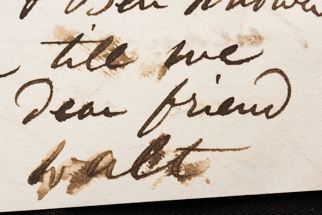 close-up of a hand-written letter with Walt Whitman's signature, WALT