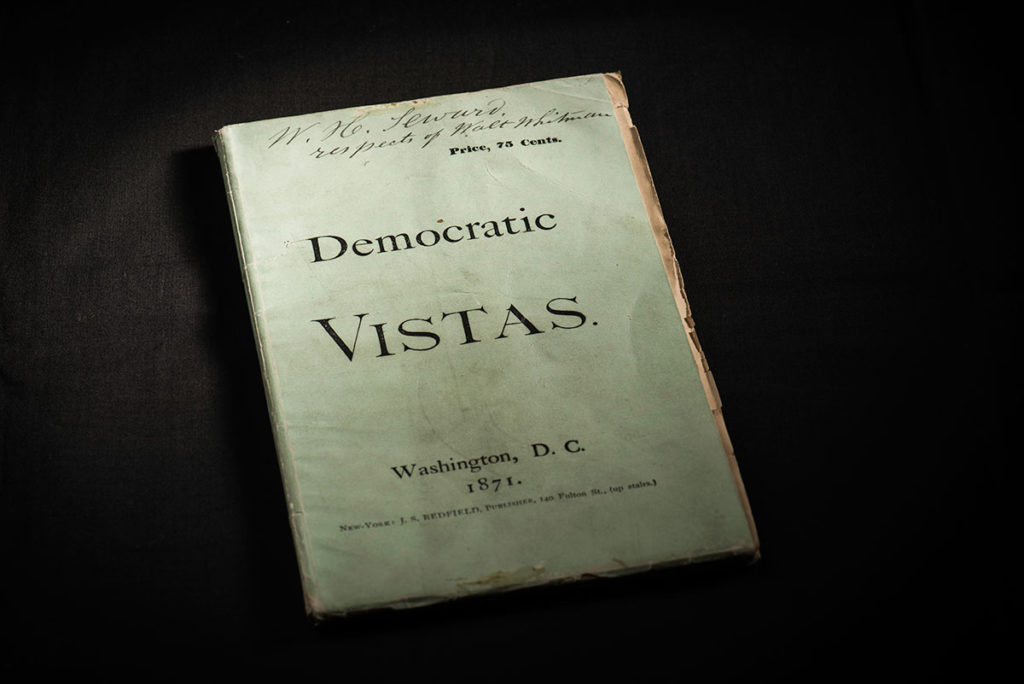 cover of DEMOCRATIC VISTAS, with Walt Whitman's signature