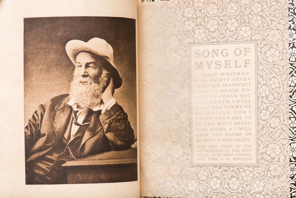 front page of SONG OF MYSELF with portrait of Walt Whitman
