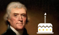 Thomas Jefferson and a birthday cake