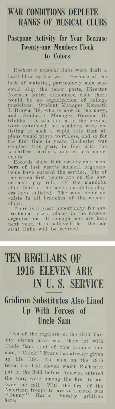 historic newspaper clippings with headlines TEN REGULARS OF 1916 ELEVEN ARE IN U.S. SERVICE and WAR CONDITIONS DEPLETE RANKS OF MUSICAL CLUBS help explain why America entered WW1