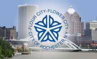 City of Rochester logo overlayed on view of downtown Rochester
