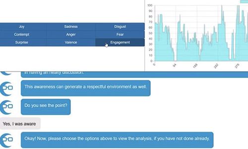 screenshot of text conversation and graph