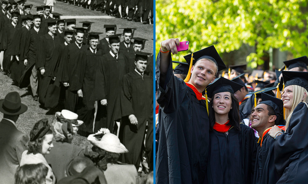 a procession of male graduates from the late 1940s/early 1950s beside a photo of males and female grads taking selfies