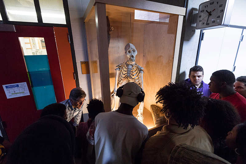 student group gathers in front of a gorilla skeleton