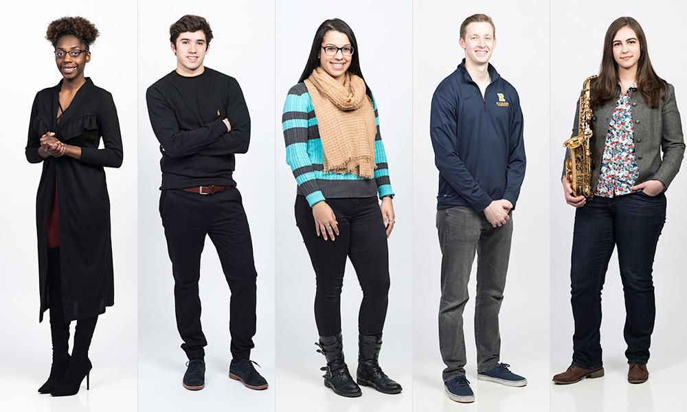 group portrait of five students