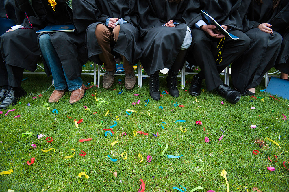 feet of a row of graduates