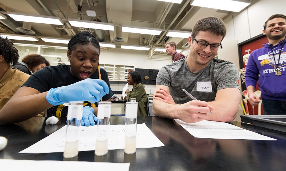 students smiling in surprise while working for fruit flies in test tubes