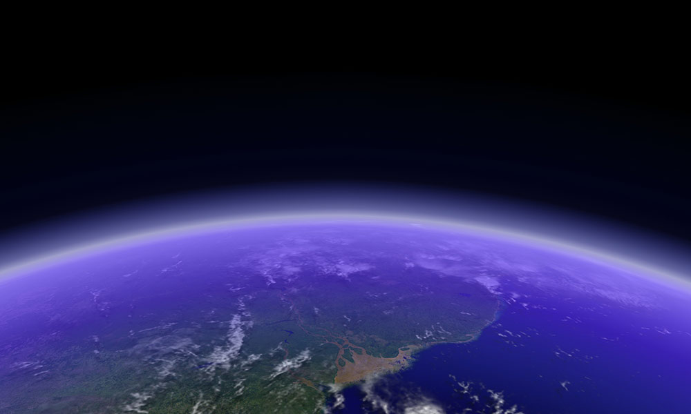 view of earth and its atmosphere from space
