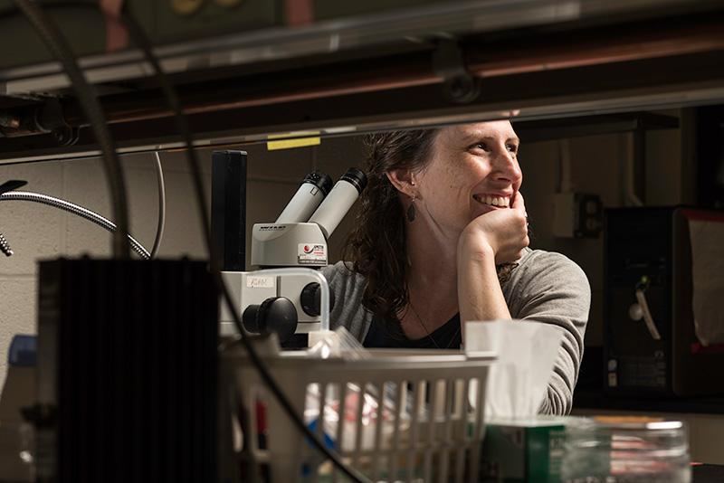 Ellen Martinson smiles in her lab