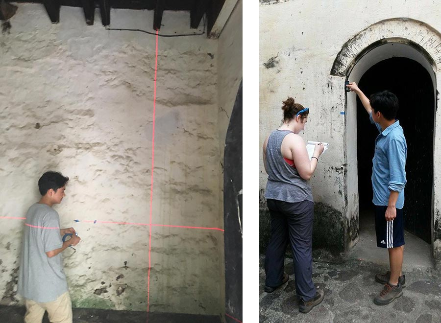 two photos side by side showing researchers measuring old structures by creating lines with lasers