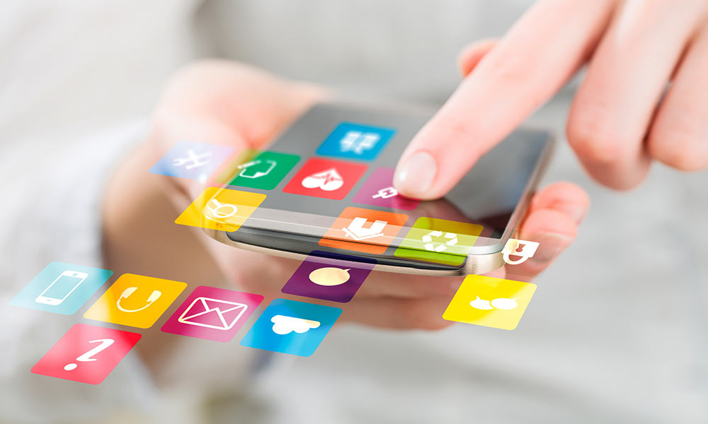 smartphone with apps flying off the screen
