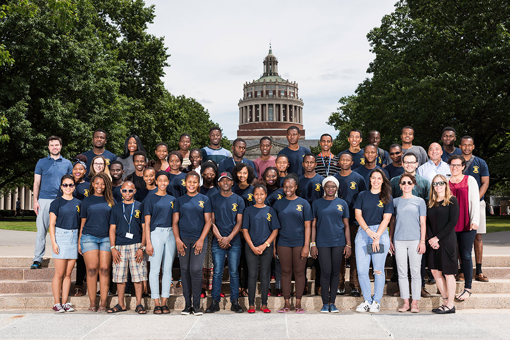 group portrait in front of Rush Rhees Library