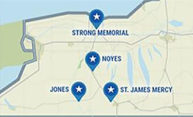 map of New York showing locations of Strong Memorial Hospital, NOyes, Jones, and St. James Mercy