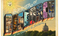 retro travel postcard says SUMMER OF RESEARCH AT THE UNIVERSITY OF ROCHESTER
