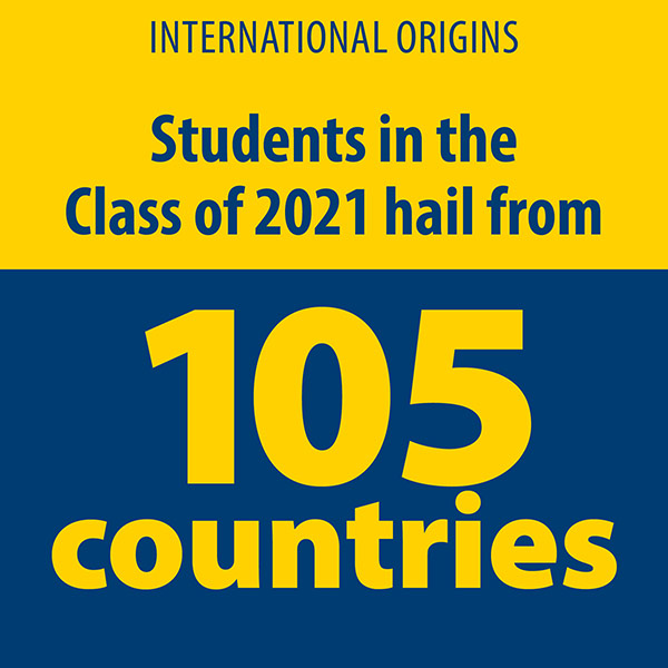 infographic reads INTERNATIONAL ORIGINS. STUDENTS IN THE CLASS OF 2021 HAIL FROM 105 COUNTRIES