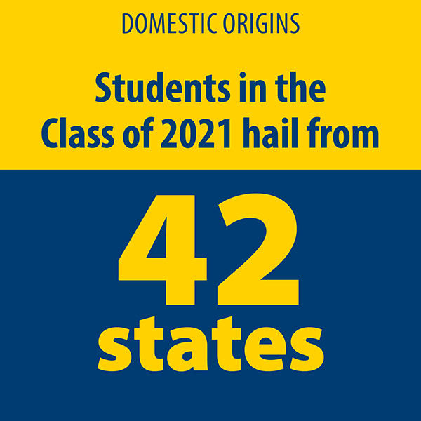 infographic reads DOMESTIC ORIGINS. STUDENTS IN THE CLASS OF 2021 HAIL FROM 42 STATES