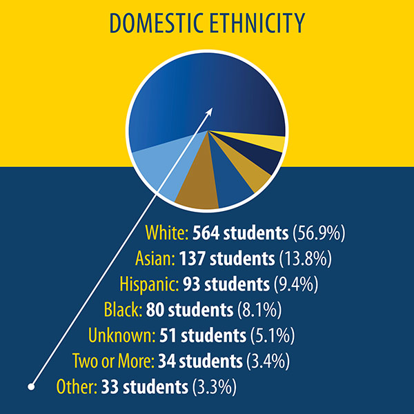 pie chart shows the ethnicity of U.S. students. 564 students (56.9%) are white; 137 (13.8%) are Asian, 93 (9.4%) are Hispanic; 80 (8.1%) are black; 51 (5.1%) are unknown; 34 (3.4%) are two or more; 33 (3.3%) are other