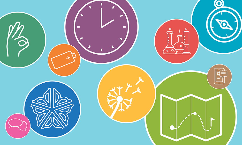 decorative image of icons representing different types of tips, like a clock to represent managing time