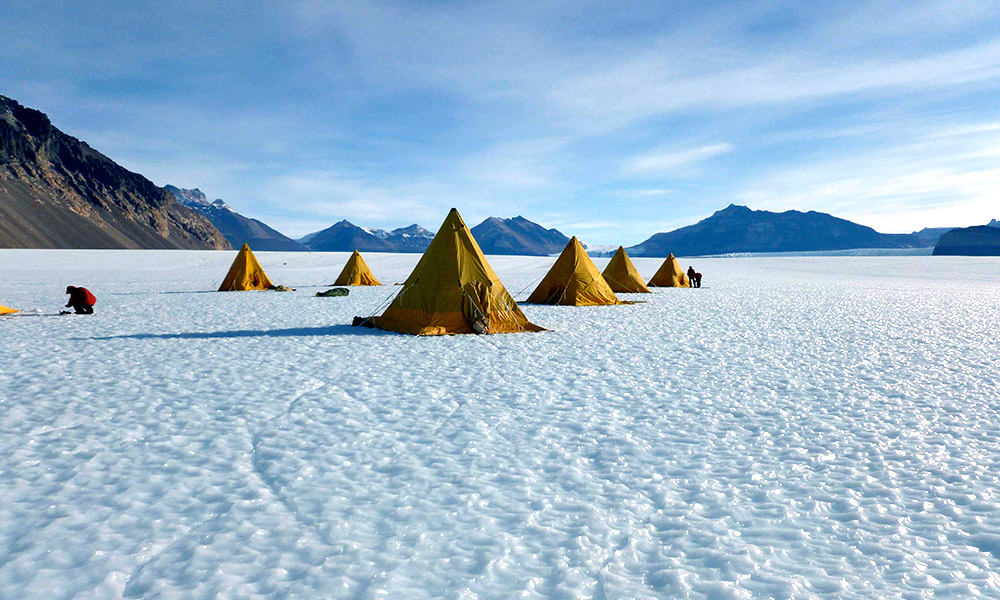 tents on an icy landscape