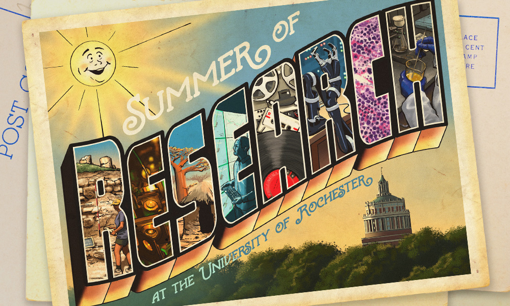 illustration of a vintage postcard with the words SUMMER OF RESEARCH AT THE UNIVERSITY OF ROCHESTER