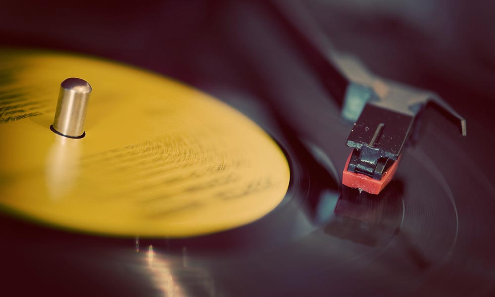 turntable needle on a vinyl record