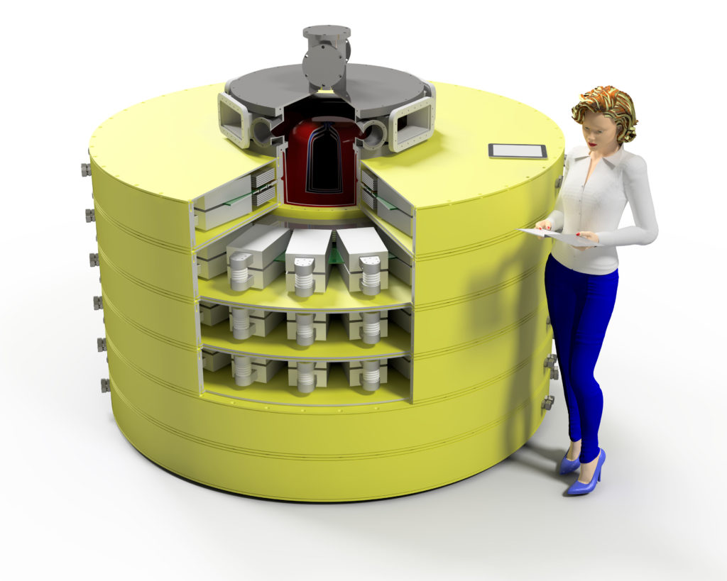 artist rendering of a cylindric high-density capacitor, with a person standing shoulder height to it, for scale.