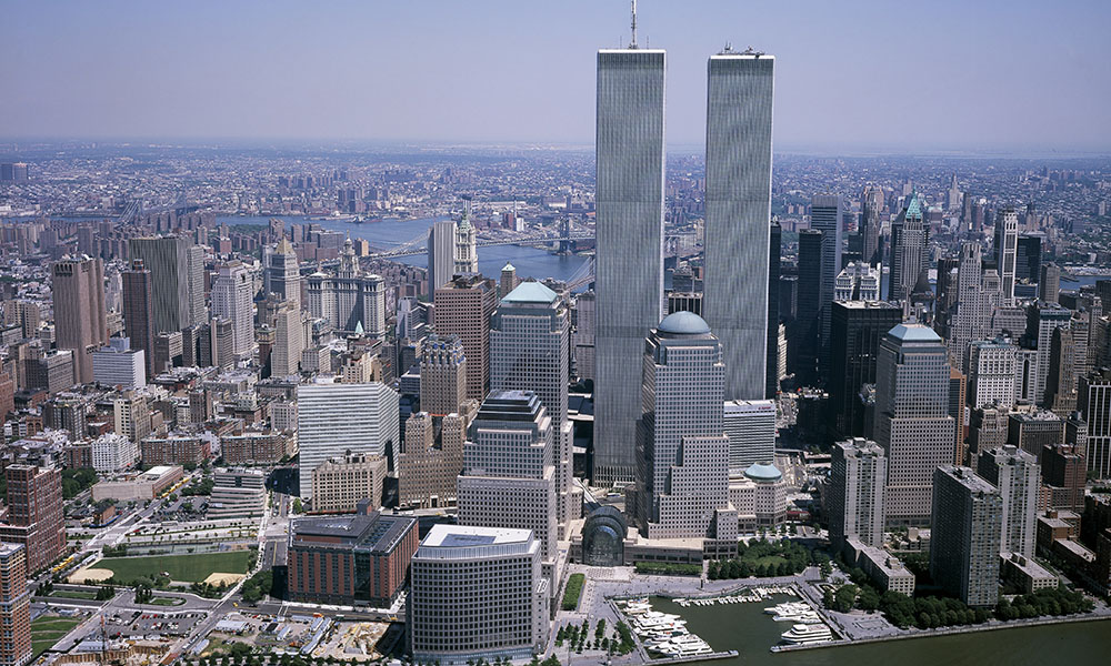 A view of the World Trade Center's Twin Towers in the New York skyline, as seen from the harbor.